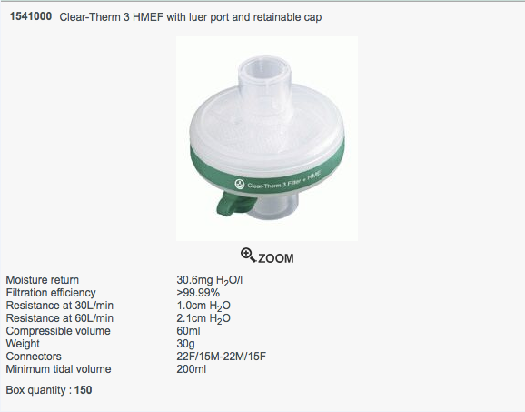 Cheap Clear-Therm 3 HMEF Luer Port and a Retainable Cap | Respiratory Accessories | 1541000 | Intersurgical