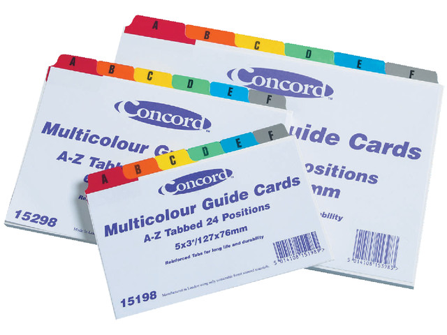 Cheap A-Z Multicolour Guide Cards 3 x 5in | Guide Cards | 187286 | Concord