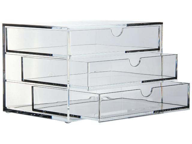 cheap acrylic 3 drawer clear chest letter trays riser rods a3276 staples