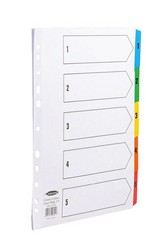 Cheap Concord A4 Extra Wide Multicolour Indices 1-5 | Dividers & Indices | 9601 CS96 | Concord
