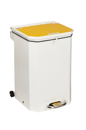 Great Value Sunflower 50 Litre Medical Bin Yellow Lid | Steel Clinical Bins | SUN-BIN50/YELLOW | Sunflower Medical