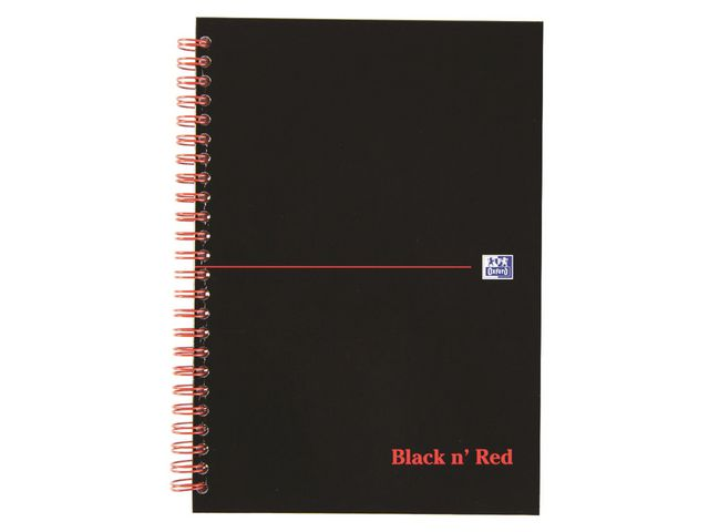 Great Value Black n Red A5 Wirebound Notebook Ruled - Hardback | Pads & Note Books | 100080220 | Oxford Black N' Red